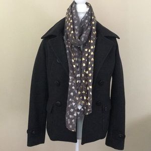 Dark gray peacock jacket in like new condition!